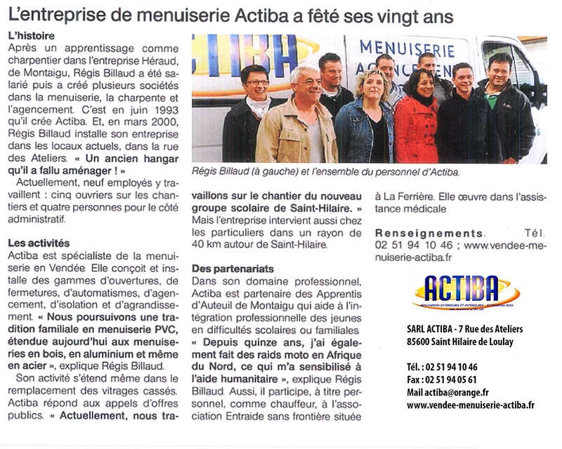 article journal ouest france actiba